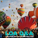 Law of Attraction Tips Q & A Center Link - balloons image